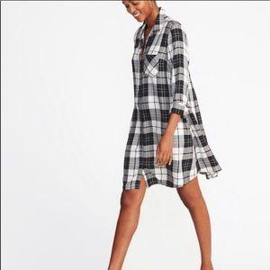 Flannel shirt dress NWT